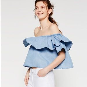 Zara Denim Off Shoulder Top